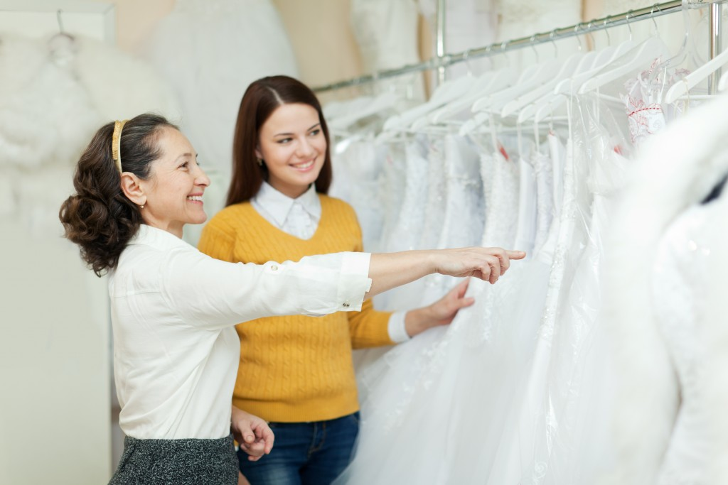 Women looking for a wedding gown