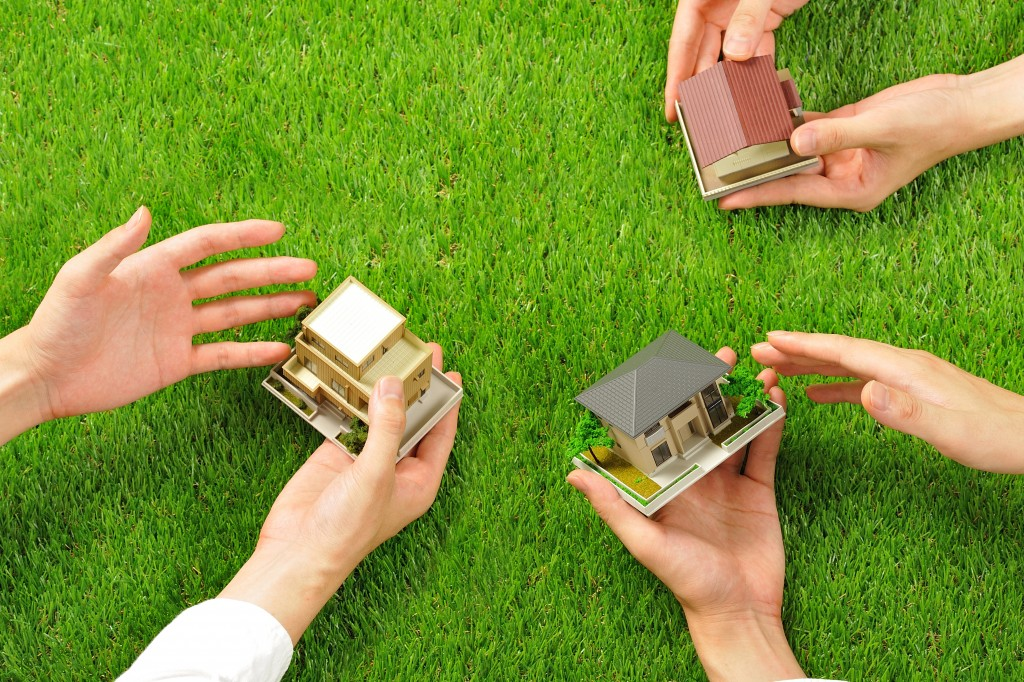 holding miniature houses