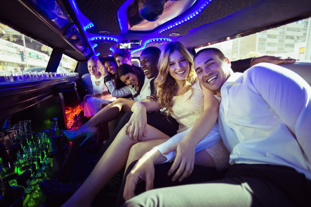 group of friends in a limo