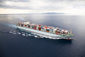 shipping vessel full of containers