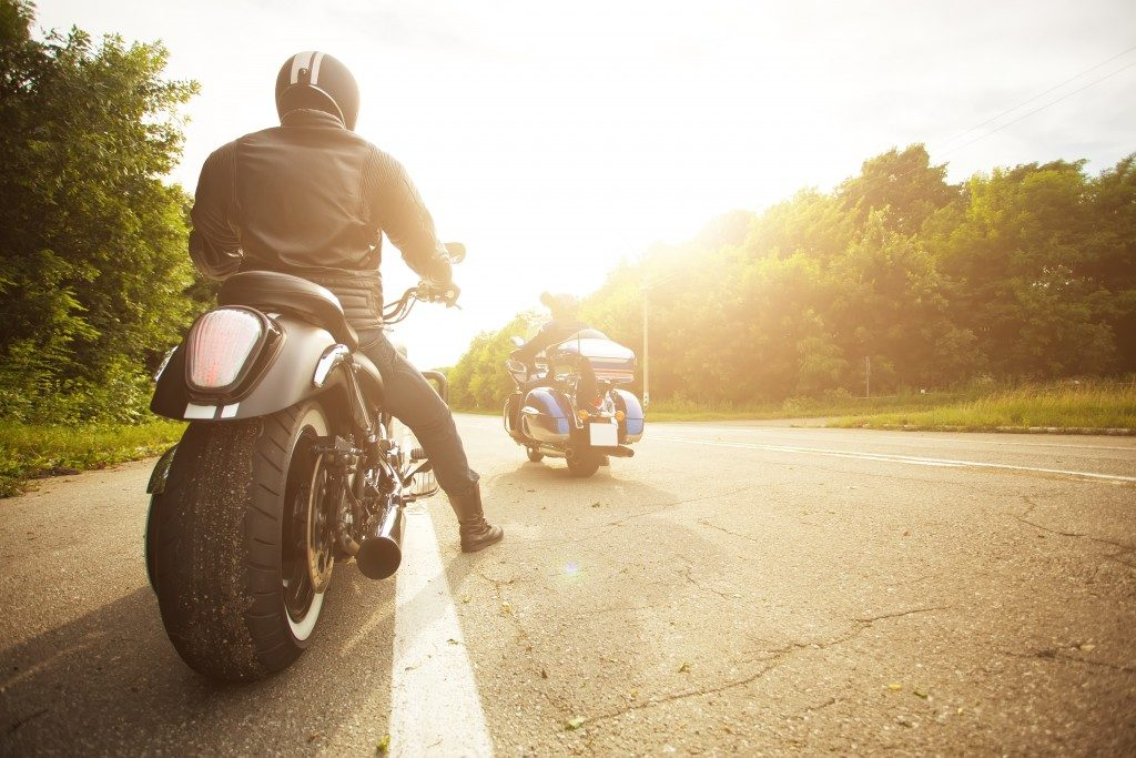 two bikers in a motorcycle
