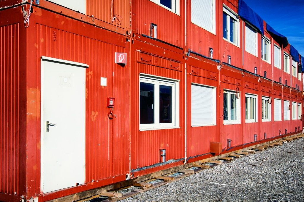 Stacked shipping container houses