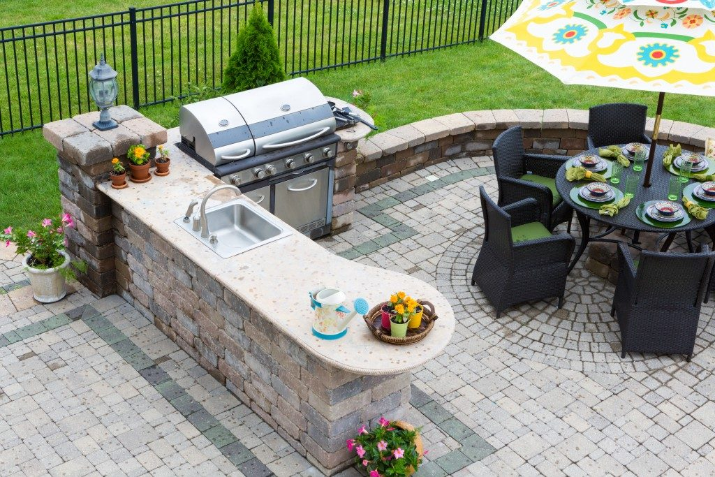 Outdoor kitchen for entertaining guests