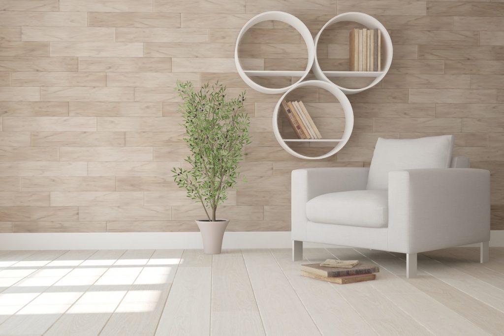 circular bookshelves hanging on the wall