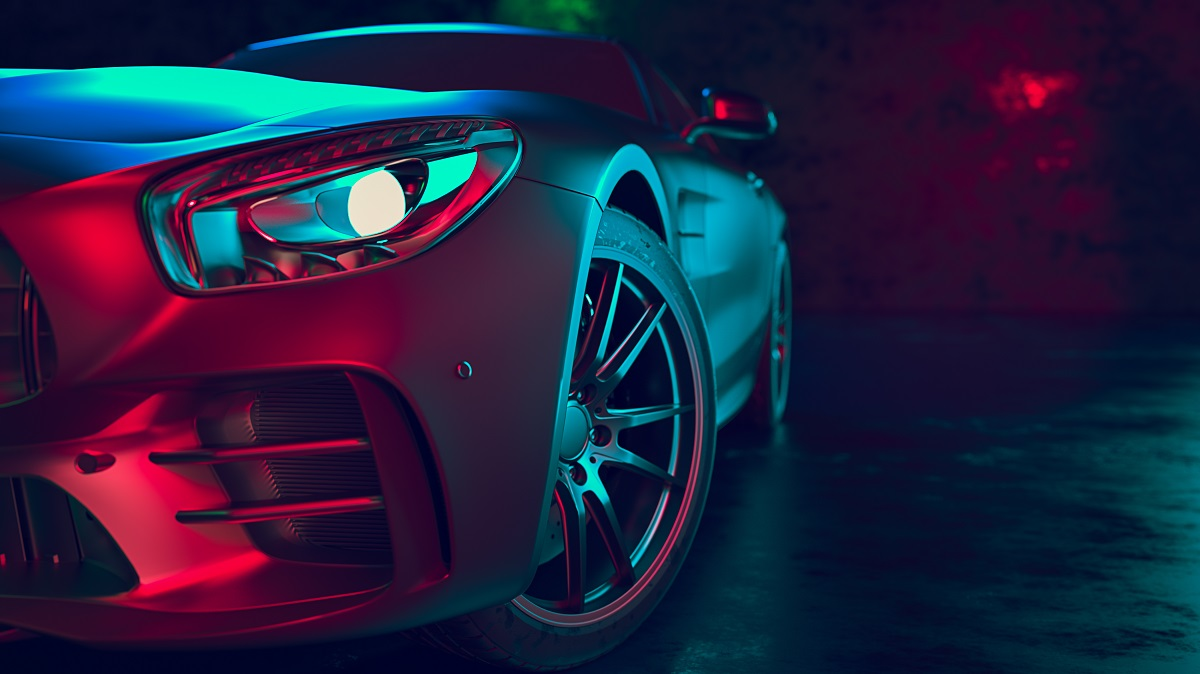 cool car with colorful lighting