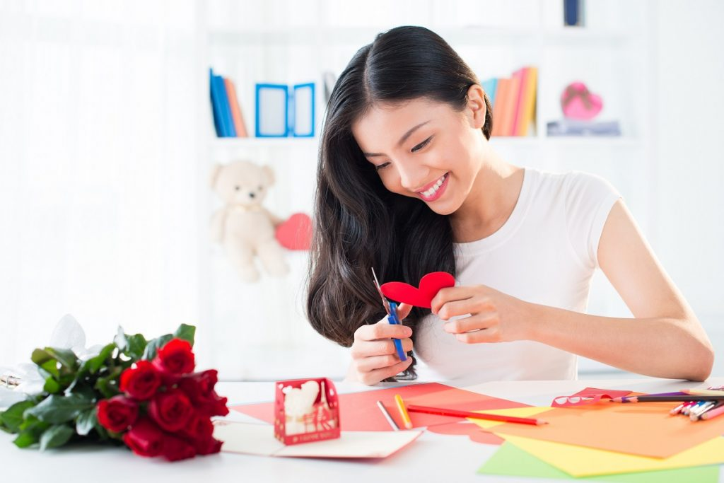 woman creating crafts