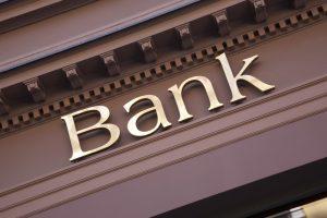 Bank sign on facade
