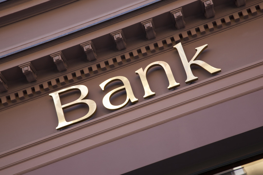 Bank sign on facade
