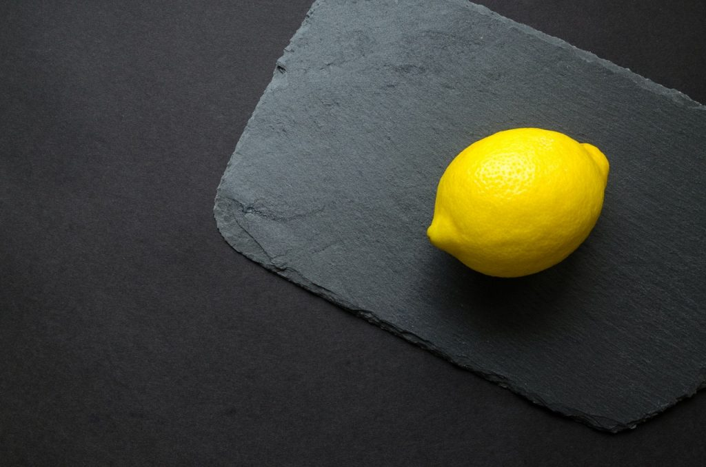 yellow lemon and gray background