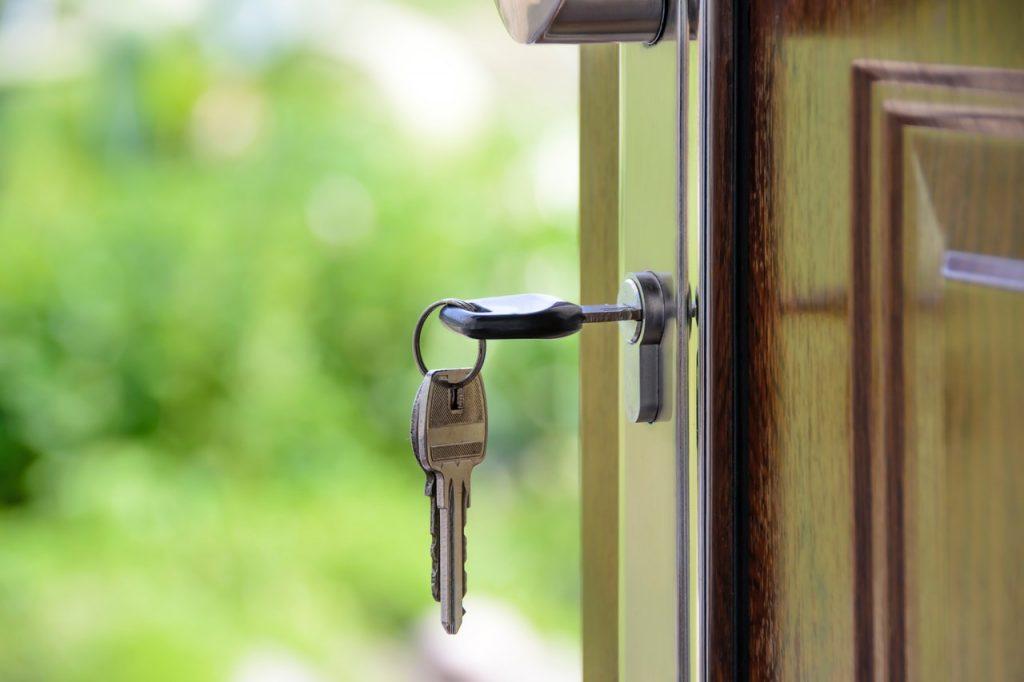 house keys in the door